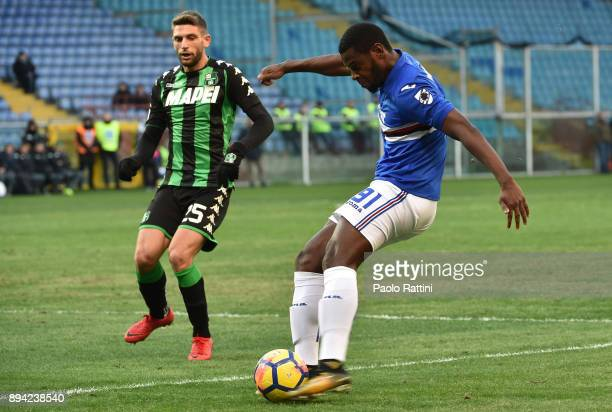 Duvan Zapata and Domenico Berardi during the Serie A match between UC Sampdoria and US Sassuolo at Stadio Luigi Ferraris on December 17 2017 in Genoa...