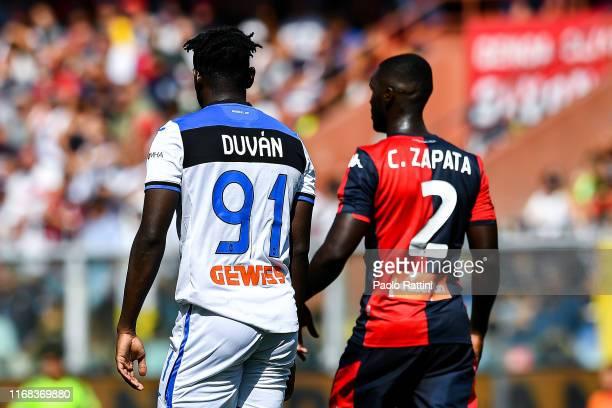 Duvan Zapata of Atalanta and Cristian Zapata of Genoa during the Serie A match between Genoa CFC and Atalanta BC at Stadio Luigi Ferraris on...
