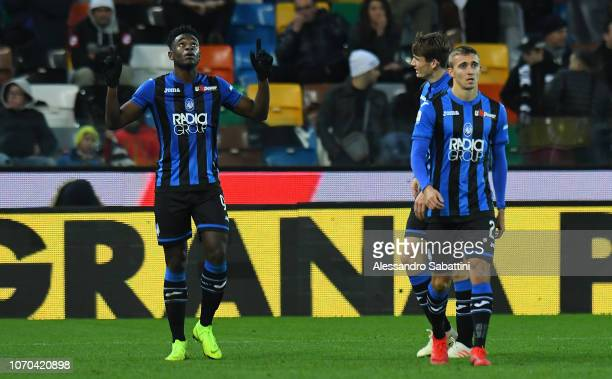 Duvan Zapata of Atalanta BC celebrates after scoring his team third goal during the Serie A match between Udinese and Atalanta BC at Stadio Friuli on...