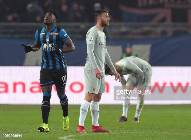 Duvan Zapata of Atalanta BC celebrates his goal during the Serie A match between Atalanta BC and AS Roma at Stadio Atleti Azzurri d'Italia on January...