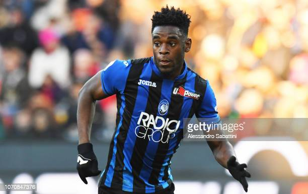 Duvan Zapata of Atalanta BC reacts during the Serie A match between Udinese and Atalanta BC at Stadio Friuli on December 9 2018 in Udine Italy