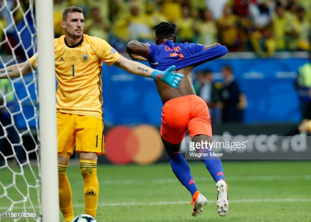 Duvan Zapata of Colombia celebrates after scoring he second goal of his team during the Copa America Brazil 2019 group B match between Argentina and...