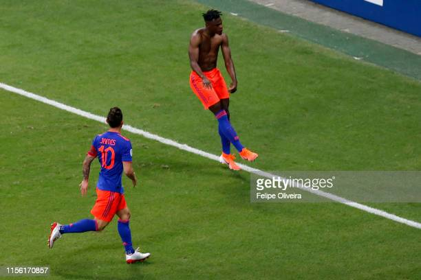 Duvan Zapata of Colombia celebrates after scoring the first goal of his team during the Copa America Brazil 2019 group B match between Argentina and...