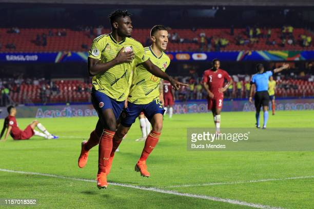 Duvan Zapata of Colombia celebrates after scoring the opening goal during the Copa America Brazil 2019 group B match between Colombia and Qatar at...
