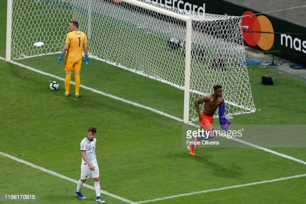 Duvan Zapata of Colombia celebrates after scoring the second goal of his team during the Copa America Brazil 2019 group B match between Argentina and...