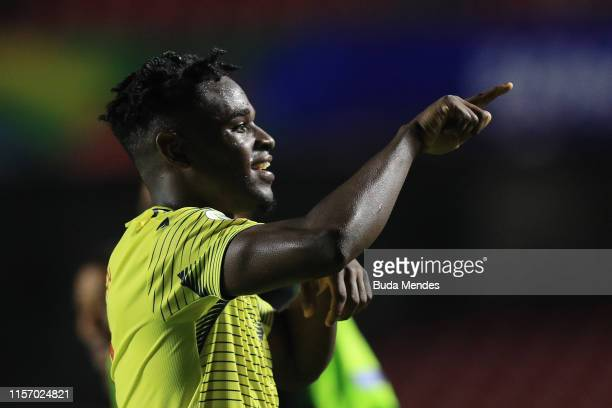 Duvan Zapata of Colombia celebrates after winning the Copa America Brazil 2019 group B match between Colombia and Qatar at Morumbi Stadium on June...