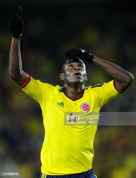 Duvan Zapata of Colombia celebrates scoring his sides equalizing goal during the FIFA U20 World Cup Colombia 2011 quarter final match between Mexico...
