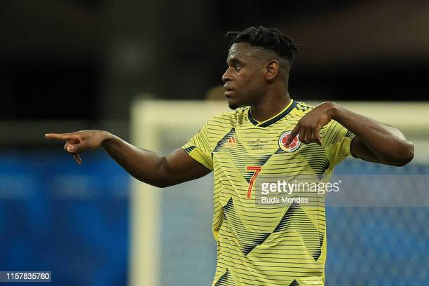 Duvan Zapata of Colombia gestures during the Copa America Brazil 2019 group B match between Colombia and Paraguay at Arena Fonte Nova on June 23,...