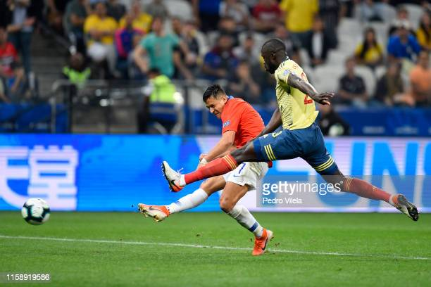Duvan Zapata of Colombia kicks the ball against Davinson Sanchez of Colombia during the Copa America Brazil 2019 quarterfinal match between Colombia...