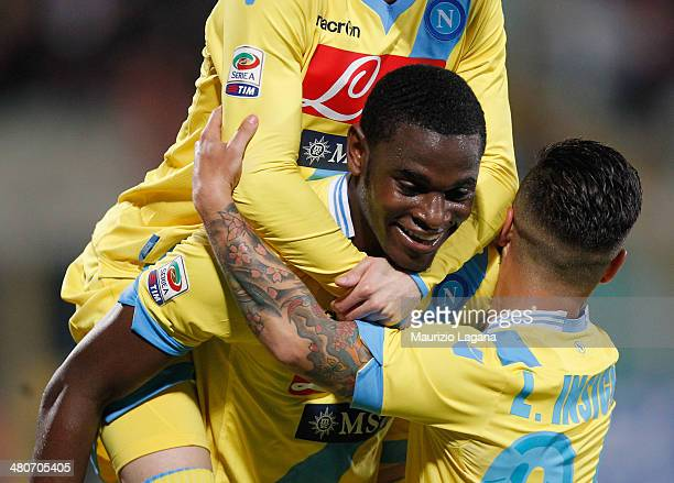 Duvan Zapata of Napoli celebrates after scoring hia team's opening goal during the Serie A match between Calcio Catania and SSC Napoli at Stadio...