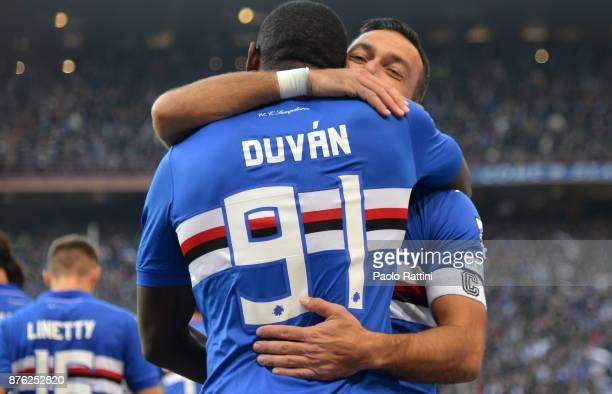 Duvan Zapata of Sampdoria ceebrate after 10during the Serie A match between UC Sampdoria and Juventus at Stadio Luigi Ferraris on November 19 2017 in...