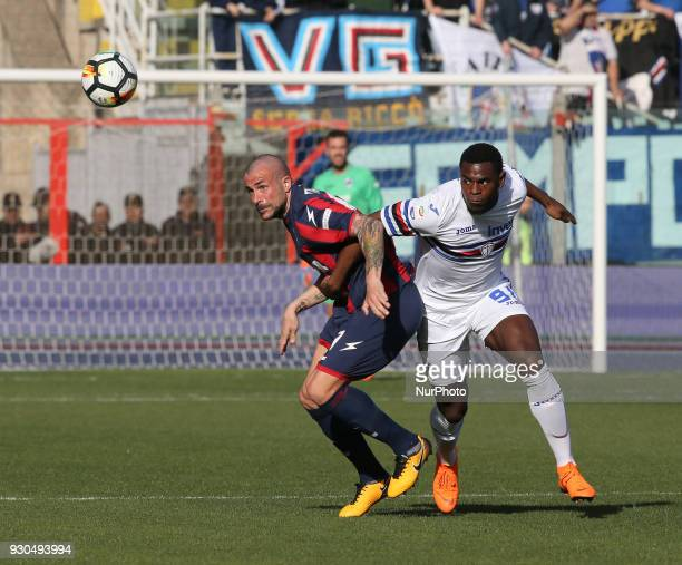 Duvan Zapata of Sampdoria competes for the ball during the serie A match between FC Crotone and UC Sampdoria at Stadio Comunale Ezio Scida on March...