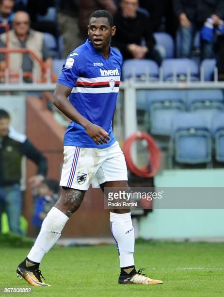 Duvan Zapata of Sampdoria during the Serie A match between UC Sampdoria and AC Chievo Verona at Stadio Luigi Ferraris on October 29 2017 in Genoa...