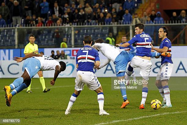 Duvan Zapata of SSC Napoli scores a goal during the Serie A match between UC Sampdoria and SSC Napoli at Stadio Luigi Ferraris on December 1 2014 in...