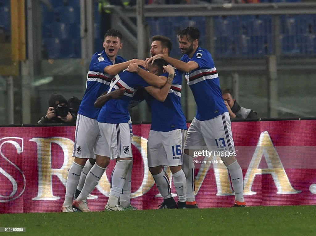 Duvan Zapata of UC Sampdoria celebrates after scoring opening goal during the serie A match between AS Roma and UC Sampdoria at Stadio Olimpico on January 28, 2018 in Rome, Italy.