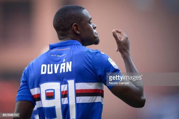 Duvan Zapata of UC Sampdoria celebrates after scoring the opening goal during the Serie A football match between AC Milan and UC Sampdoria UC...