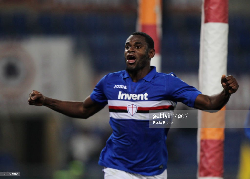 Duvan Zapata of UC Sampdoria celebrates after scoring the opening goal during the Serie A match between AS Roma and UC Sampdoria at Stadio Olimpico on January 28, 2018 in Rome, Italy.