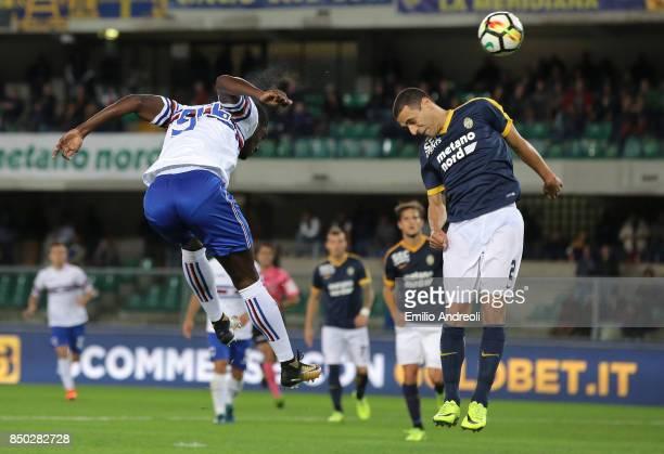 Duvan Zapata of UC Sampdoria jumps and hits the post during the Serie A match between Hellas Verona FC and UC Sampdoria at Stadio Marc'Antonio...