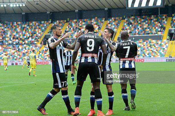 Duvan Zapata of Udinese Calcio celebrates after scoring his opening goal during the Serie A match between Udinese Calcio and AC ChievoVerona at...
