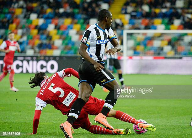 Duvan Zapata of Udinese Calcio competes with Cristian Zaccardo of Carpi FC during the Serie A match between Udinese Calcio and Carpi FC at Stadio...