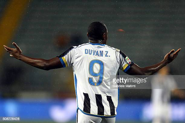 Duvan Zapata of Udinese Calcio reacts during the Serie A match between Empoli FC and Udinese Calcio at Stadio Carlo Castellani on February 3 2016 in...