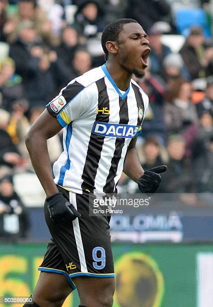 Duvan Zapata of Udinese Calcio reacts during the Serie A match between Udinese Calcio v Atalanta BC at Stadio Friuli on January 6 2016 in Udine Italy