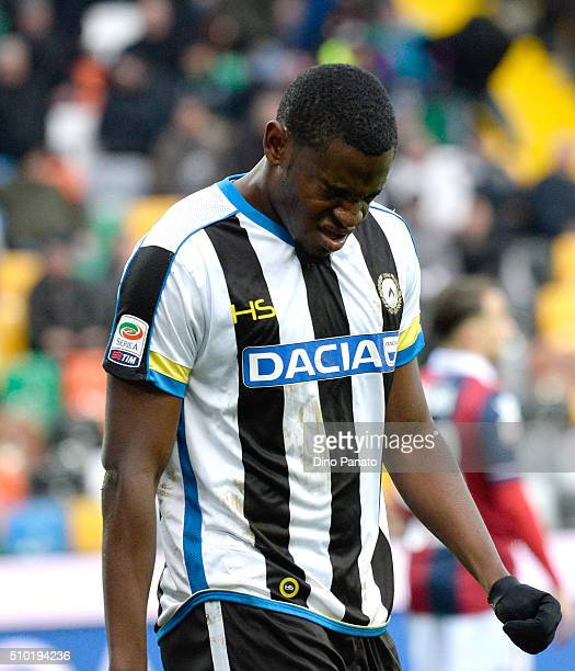 Duvan Zapata of Udinese shows his dejection during the Serie A match between Udinese Calcio and Bologna FC at Stadio Friuli on February 14 2016 in...
