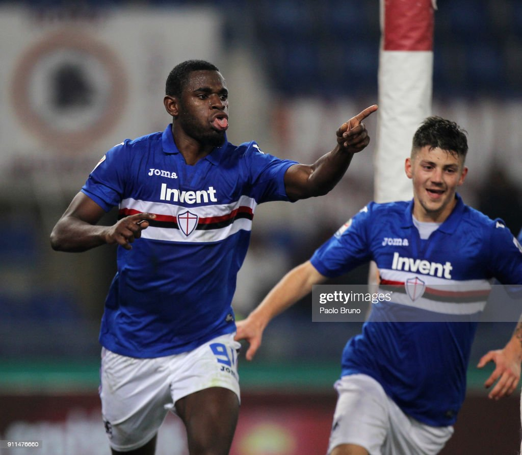 Duvan Zapata with his teammate David Igor Kownacki of UC Sampdoria celebrates after scoring the opening goal during the Serie A match between AS Roma and UC Sampdoria at Stadio Olimpico on January 28, 2018 in Rome, Italy.