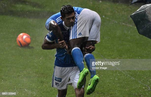 Duvier Riascos and David Silva of Millonarios celebrate during the match between Tigres and Millonarios as part of the Liga Aguila I 2017 at...