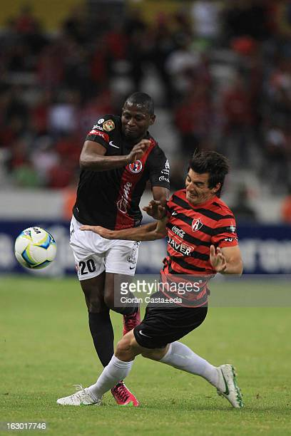 Duvier Riascos of Tijuana in action during a match between Atlas and Tijuana as part of the Clausura 2013 Liga MX at Jalisco Stadium on March 03 2013...