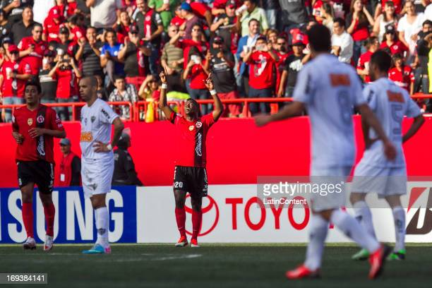 Duvier Riascos of Xolos celebrates a goal during match between Xolos and Atletico Mineiro as part of the Copa Bridgestone Libertadores 2013 at...