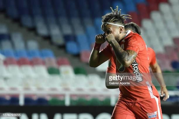 Duván Vergara of America de Cali celebrates after scoring the first goal of his team during a group E match of Copa CONMEBOL Libertadores 2020...