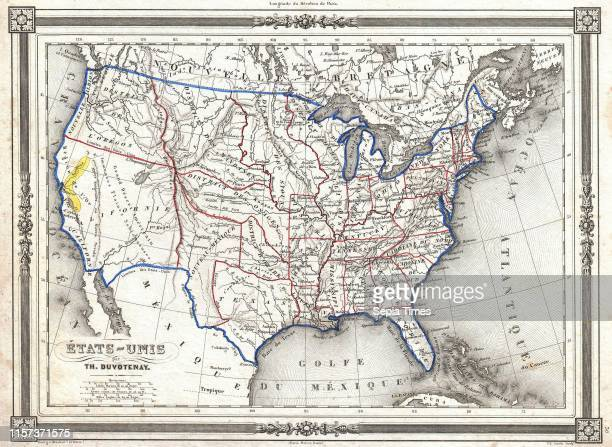 1852 Duvotenay Map of the United States Gold Rush