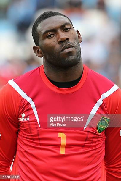 Duwayne Kerr of Jamaica looks on during the national anthem ceremony prior the 2015 Copa America Chile Group B match between Uruguay and Jamaica at...