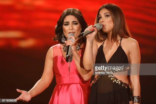 Duygu Goenel and Monique Simon perform during the third event show of the tv competition 'Deutschland sucht den Superstar' at Coloneum on April 22...