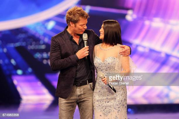 Duygu Goenel and Oliver Geissen during the fourth event show and semi finals of the tv competition 'Deutschland sucht den Superstar' at Coloneum on...