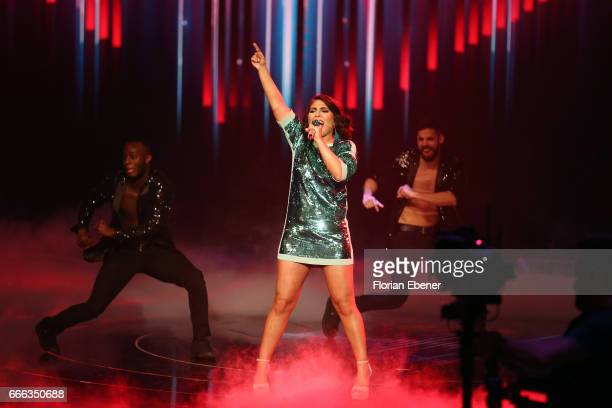 Duygu Goenel during the first event show of the tv competition 'Deutschland sucht den Superstar' at Coloneum on April 8 2017 in Cologne Germany 13...
