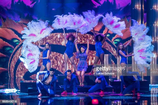 Duygu Goenel performs during the second event show of the tv competition 'Deutschland sucht den Superstar' at Coloneum on April 15 2017 in Cologne...