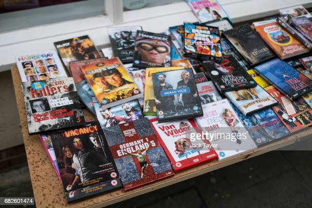 A dvd of the 2001 England v Germany World Cup qualifier sits among others for sale outside a charity shop on May 12 2017 in Boston United Kingdom The...