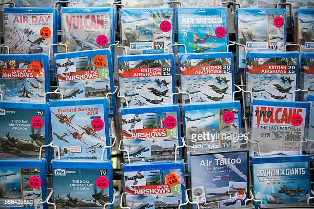 DVDs of previous airshows on display at the Eastbourne airshow 'Airbourne' on August 11 2016 in Eastbourne England The Eastbourne seafront hosts the...