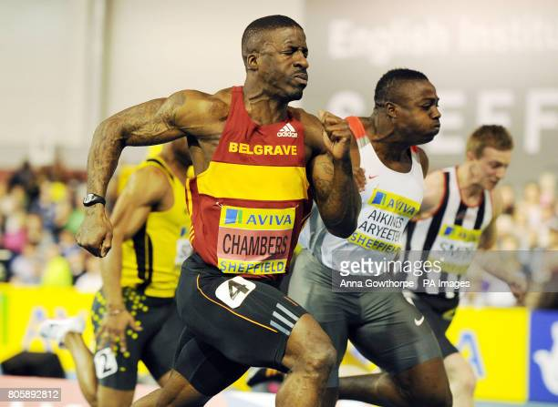 Dwain Chambers beats Harry Aikines Aryeetey to win the Men's 60m Final during the Aviva World Trials and UK Championships at the English Institute of...