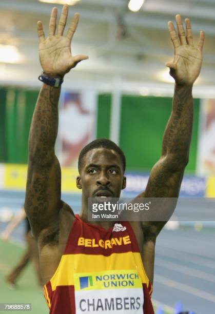 Dwain Chambers celebrates after winning the men's 60 metres heats during the Norwich Union World Trials UK championships at The English Institute of...