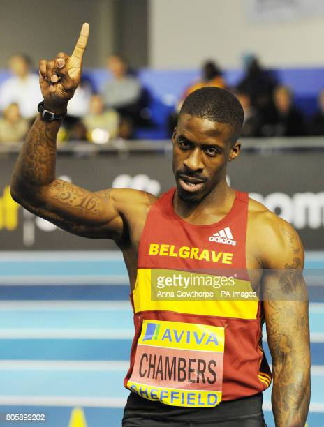 Dwain Chambers celebrates after winning the Men's 60m Final during the Aviva World Trials and UK Championships at the English Institute of Sport...
