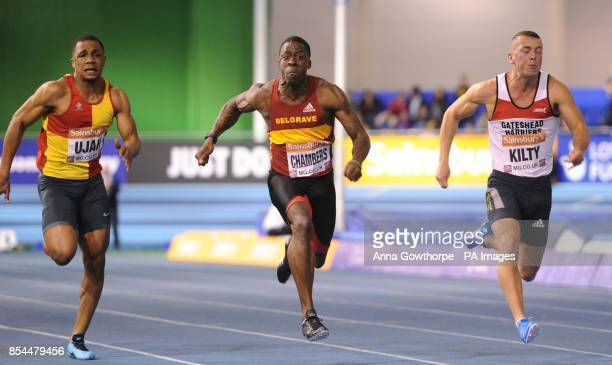 Dwain Chambers crosses the line as he loses to James Dasaolu in the Men's 60m Final during day one of the British Athletics Indoor Championships at...