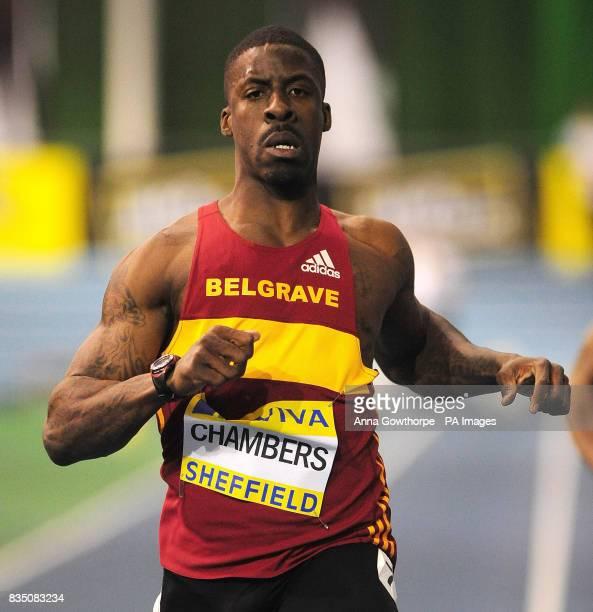 Dwain Chambers in action in the Mens 60m heats during Aviva European Trials and UK Championships at the English Institute of Sport Sheffiled