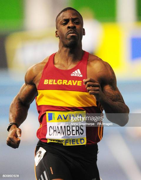 Dwain Chambers in action in the Men's 60m heats during the Aviva World Trials and UK Championships at the English Institute of Sport Sheffield