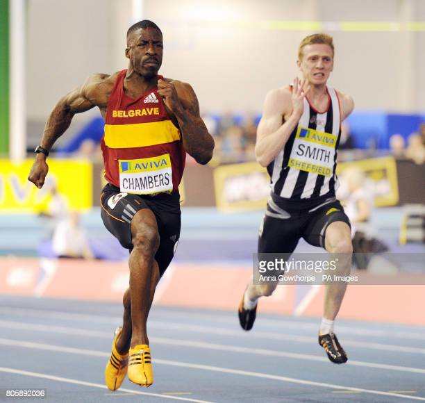 Dwain Chambers in action in the Men's 60m semi final during the Aviva World Trials and UK Championships at the English Institute of Sport Sheffield