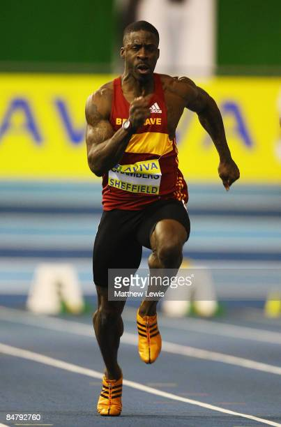 Dwain Chambers of Belgrave Harriers in action during the Mens 60m heats during the first day of the AVIVA World Trials and UK Championships at the...
