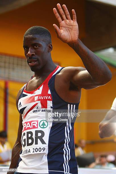 Dwain Chambers of Great Britain acknowledges winning the men's 100m during day one of the Spar European Team Championships at the Estadio Municipal...