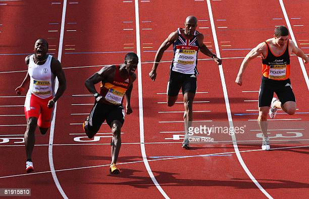 Dwain Chambers of Great Britain celebrates as he crosses the line to win the Mens 100m Final during the Aviva National Championships Olympic Trials...